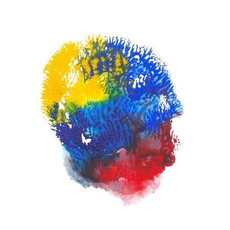 Abstract acrylic paint monotyped spot. Yellow, blue, red bright colors. Vector illustration isolated on white background. Coral shaped imprint.