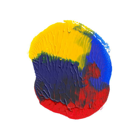 Abstract acrylic paint monotyped spot. Yellow, blue, red bright colors. Vector illustration isolated on white background.