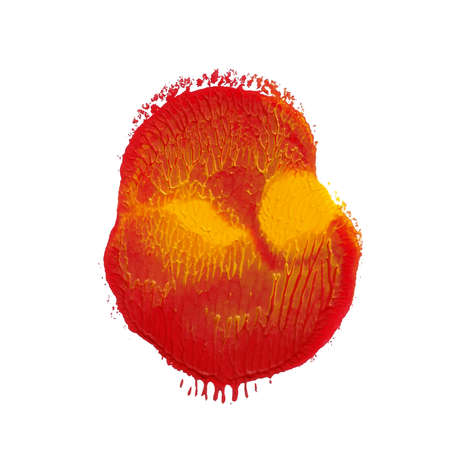 Abstract acrylic paint monotyped spot. Red, yellow bright colors. Vector illustration isolated on white background. Coral shaped blot.
