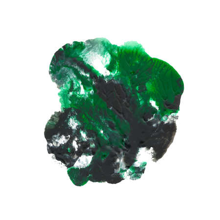 Abstract acrylic paint monotyped spot. Green, emerald, black bright colors. Vector illustration isolated on white background. 版權商用圖片 - 95305252
