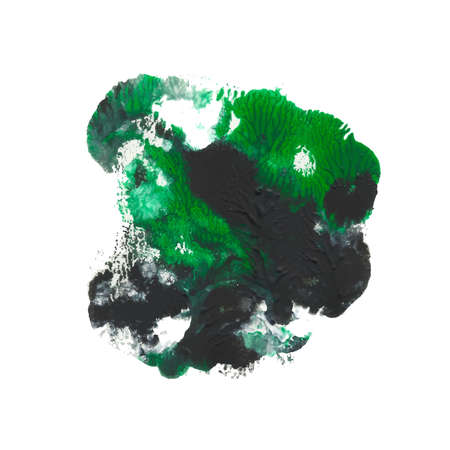 Abstract acrylic paint monotyped spot. Green, emerald, black bright colors. Vector illustration isolated on white background.