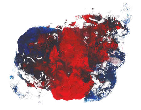 Abstract acrylic paint monotyped spot. Red blue bright colors. Vector illustration isolated on white background. Coral shaped mixed blot.