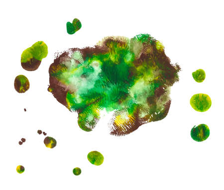 Abstract acrylic paint monotyped spot. Green, yellow, brown. Bright colors. Vector illustration isolated on white background. Several blended blots with a pattern like trees.