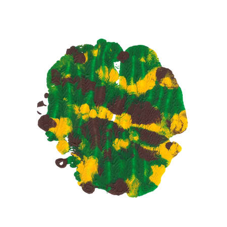 Abstract acrylic paint monotyped spot. Green, yellow, brown. Bright colors. Vector illustration isolated on white background.