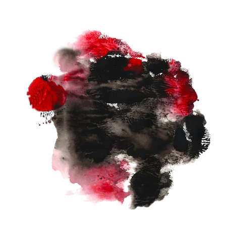 Abstract acrylic paint monotyped spot. Red black bright colors. Vector illustration isolated on white background.