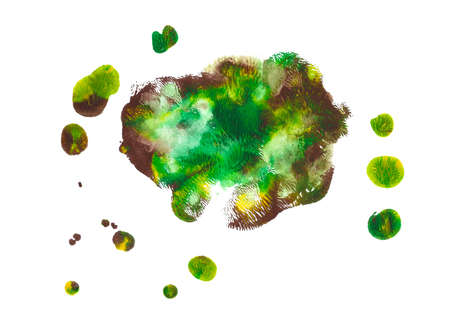 Abstract acrylic spot isolated on white background. Green, brown, yellow vibrant color. Monotyped hand drawn grunge stain. Stock Photo
