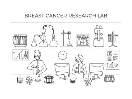 Breast cancer research laboratory. Scientific concept with test tubes, flasks, bottles, Petri dish, lab assistants, devices. Vector illustration on a white background.