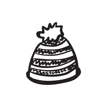 Hand drawn warm hat vector illustration. Black outline sketch isolated on white background.