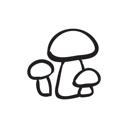 Hand drawn mushrooms vector illustration. Black outline sketch isolated on white background.