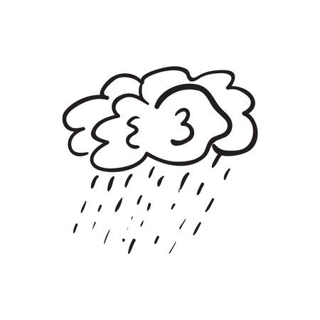 Hand drawn cloudy rain vector illustration. Black outline sketch isolated on white background. Stock Illustratie