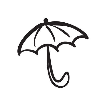 Hand drawn opened umbrella vector illustration. Black outline sketch isolated on white background.