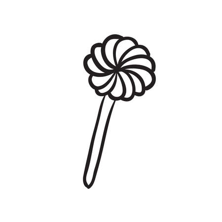 Hand drawn lollipop vector illustration. Black outline sketch isolated on white background.