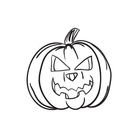 Hand drawn sinister grinning pumpkin Halloween vector illustration.. Black outline sketch isolated on white background.