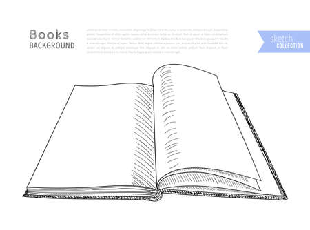 Book hand drawn background with empty space for text. Vector illustration.