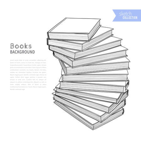 Books hand drawn sketch. Vector illustration.
