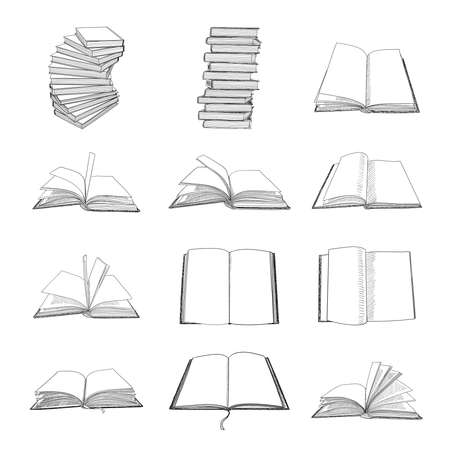 Hand drawn books sketch. Set of vector illustrations.