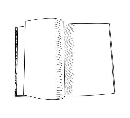 Open book hand drawn sketch. Vector illustration.