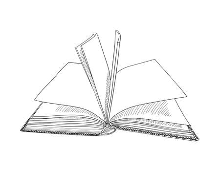 Book hand drawn sketch. Vector illustration.