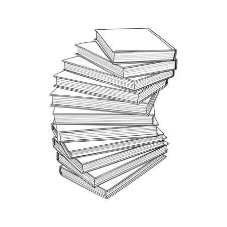 Escalera en forma de libros boceto dibujado a mano. Ilustración de vector.