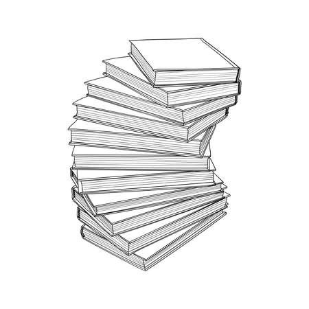 Ladder shaped books hand drawn sketch. Vector illustration.