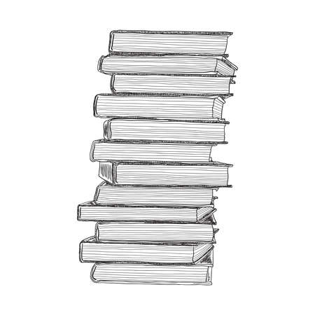 Pile of books hand drawn sketch. Vector illustration.