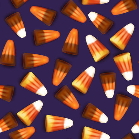 Halloween sweets realistic 3D mesh. Seamless pattern. Candy corn vector background.