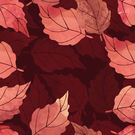 watercolor leaves seamless pattern