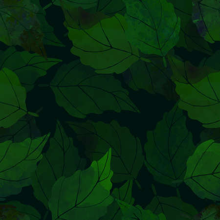 watercolor leaves seamless pattern Stockfoto - 141211705