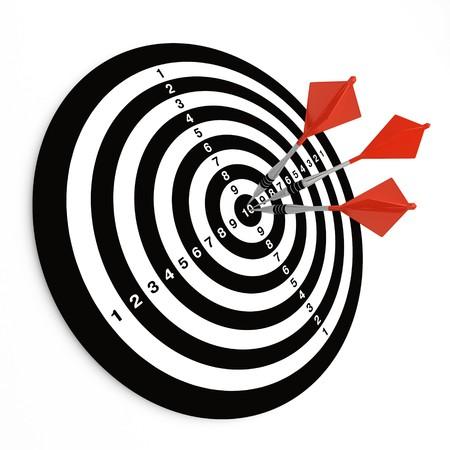 Three darts on bullseye of a dartboard