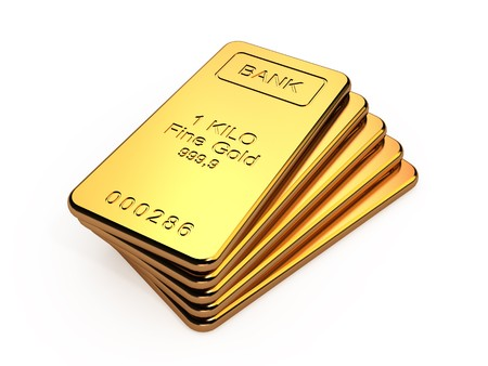 lingotto: Oro bar in uno stack isolato su sfondo bianco