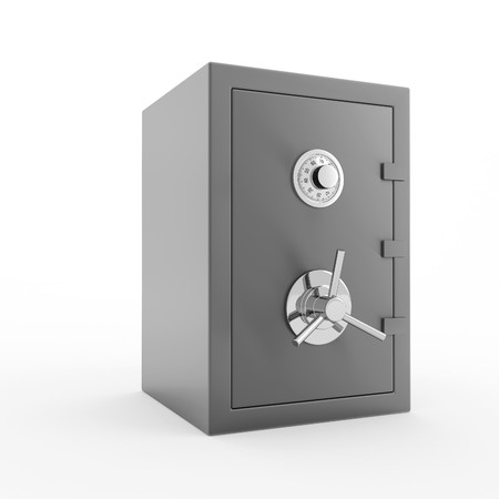 Bank safe. 3d illustration of closed steel safe over white background.
