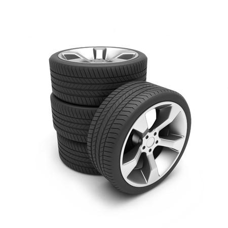 Aluminum wheels with tires isolated on white background photo