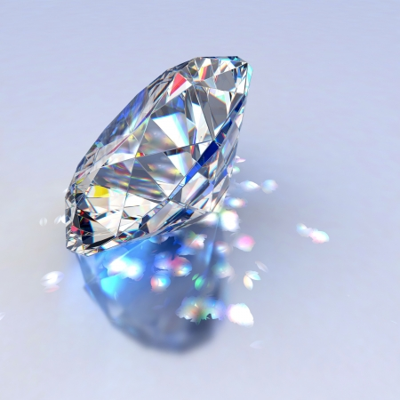 Diamond jewel with reflections on blue background photo
