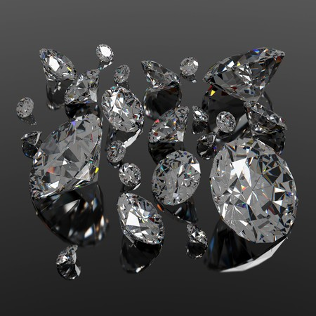 Diamonds jewel of different sizes on black surface Stock Photo - 7934669