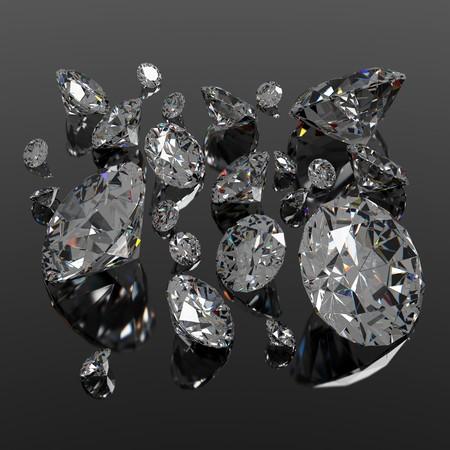 Diamonds jewel of different sizes on black surface Stock Photo - 7934669