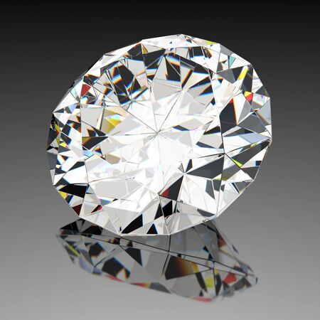 Diamond jewel with reflections on black background photo