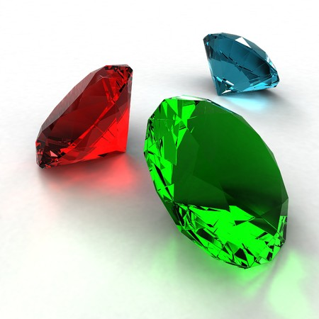 Jewel diamond of green, blue and red color on a white background Stock Photo - 7937759