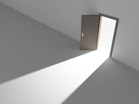 Open door into the light. A way to freedom. Stock Photo