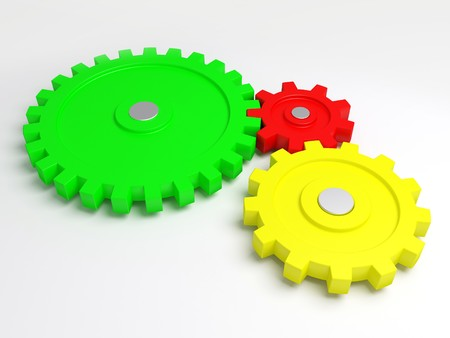 Three gears connected together. A part of the mechanism. photo