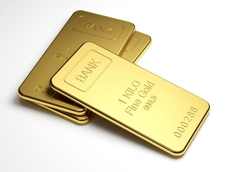 gold bullion: Gold bars on white background Stock Photo