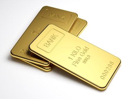 Lingotti d'oro su sfondo bianco