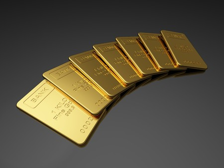 gold ingot: Gold bars on the dark background Stock Photo