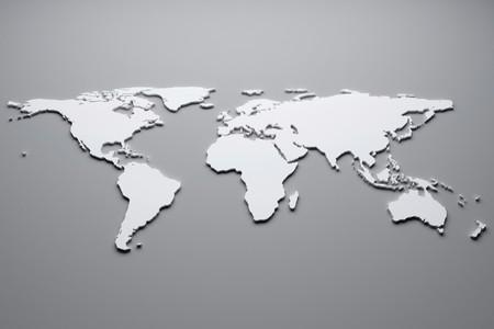 cartina del mondo: Mappa del mondo bianco. illustrazione 3D.