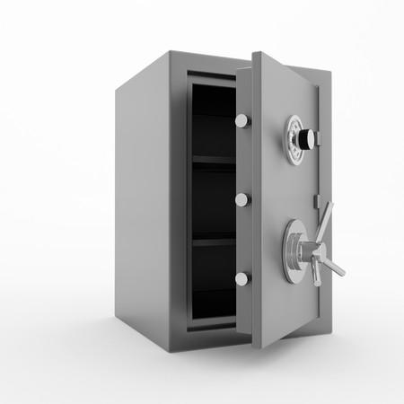 Bank safe. 3d illustration of open steel safe over white background. illustration