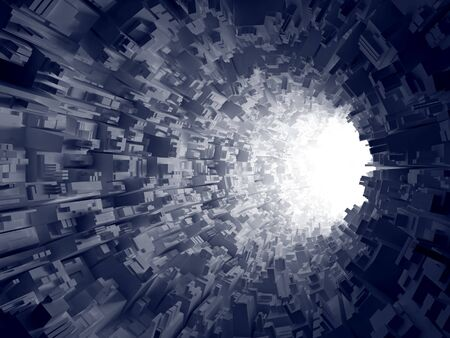 An abstract 3d background.  Light in the end of the geometrical tunnel. Stock Photo
