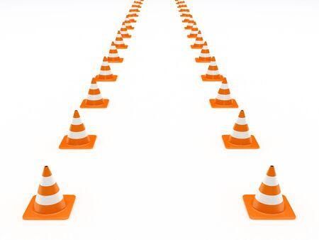 Row of orange traffic cones isolated on white background photo