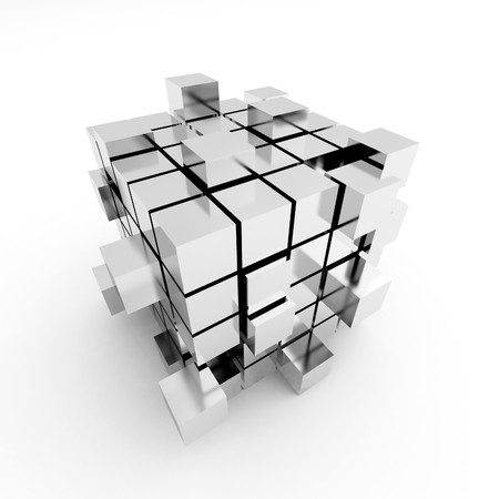 puzzle shadow: Abstract cube construction on a white background
