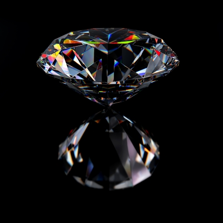 Diamond jewel with reflections on black background Stock Photo