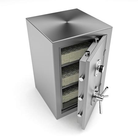 Bank safe. 3d illustration of open steel safe with money. Stock Illustration - 8000627
