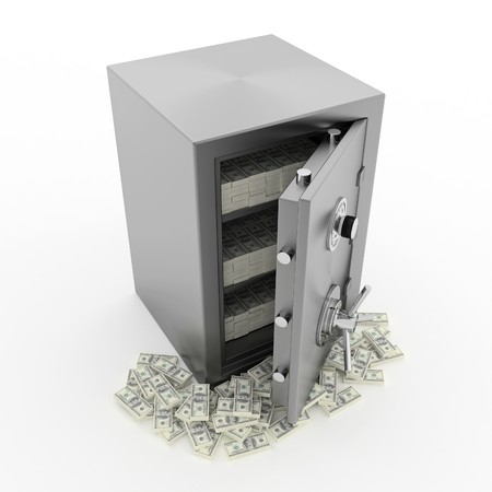 Bank safe. 3d illustration of open steel safe with money. illustration
